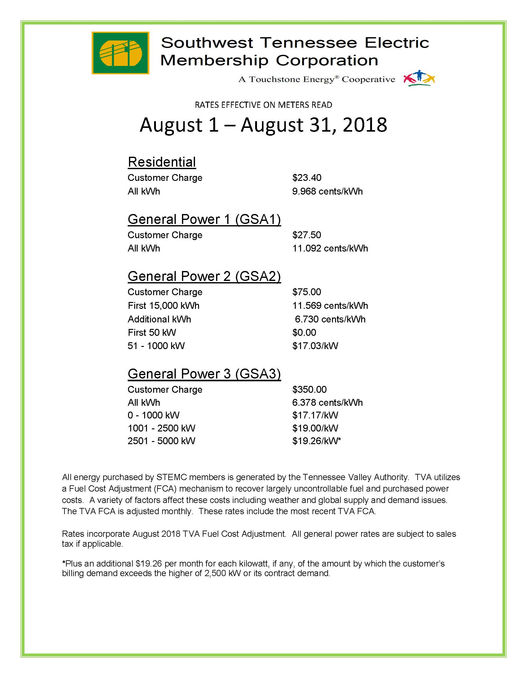 August 2018 Rates pg 1